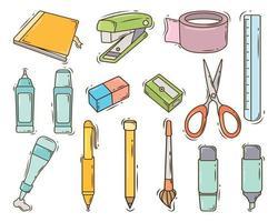 coleção estacionária de doodle desenhado à mão vetor
