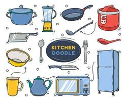 mão desenhada equipamento de cozinha desenho de desenho vetor