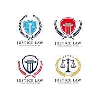 modelo de design de logotipo de emblema de lei de justiça vetor