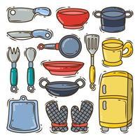 coleção de equipamentos de cozinha desenhados à mão estilo doodle vetor