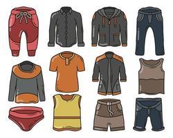 conjunto de roupas masculinas desenhadas à mão e acessórios. vetor