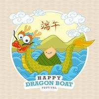 desenho fofo festival do barco dragão vetor