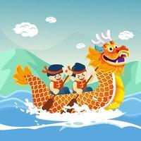 corrida de barco dragão chinês vetor