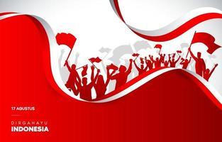 vermelho e branco para o dia da independência vetor