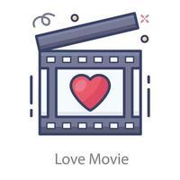 claquete de filme de amor vetor