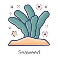 coral e algas marinhas vetor