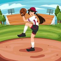mulher jogando softball vetor