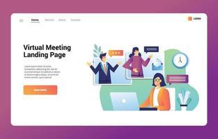 página de destino da reunião virtual vetor