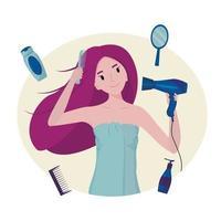 garota seca o cabelo com um secador de cabelo. conceito de limpeza, frescor e rotina diária de autocuidado vetor