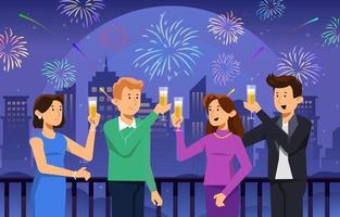 pessoas comemorando e bebendo na festa de fogos de artifício vetor