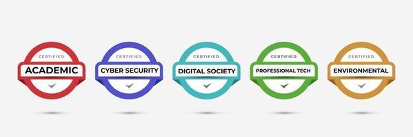 projeto de logotipo de crachá certificado para certificados de crachá de treinamento da empresa para determinar com base no conjunto de critérios. vetor