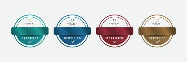 distintivo luxo certificados logotipo moderno empresa ilustração vetorial design de logotipo certificado vetor