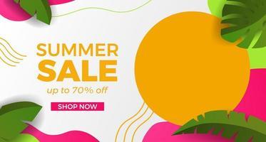 promoção de banner de oferta básica rgbhello liquidação de verão com formas curvas de onda com estilo abstrato de memphis e ilustração de folhas vetor