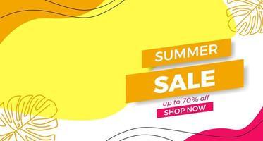 Olá promoção de verão oferta de promoção de banner com formas curvas de onda com estilo abstrato de memphis e ilustração de folhas vetor