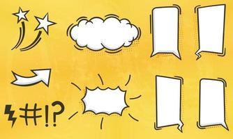 coleção de ilustração de balões de fala em quadrinhos em branco em várias formas com meios-tons vetor