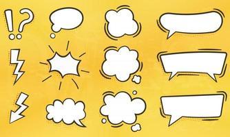 conjunto de caixas de texto de bolha vazia e várias formas de ícone plano de bolha abstrata para quadrinhos isolados vetor