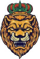 cabeça de leão com ilustrações vetoriais de coroa de cannabis vetor