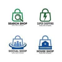 modelo de logotipo de sacola de compras criativa para loja online vetor