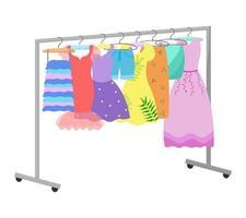 vestidos em cabides. diferentes roupas femininas penduradas. ilustração vetorial de roupas casuais e noturnas para mulheres vetor