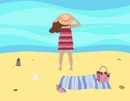 mulher na praia de verão. garota com chapéu e vestido de verão fica à beira-mar na areia com tapete e bolsa. conceito sazonal vetor