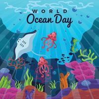 conceito do dia mundial do oceano vetor