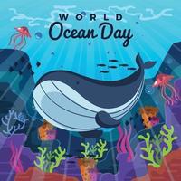 grande baleia e água-viva nadando perto de recifes de coral vetor