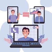 encontro virtual com colegas e família vetor