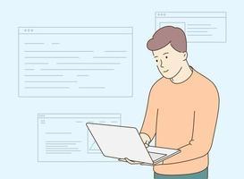 programação de desenvolvedor de back-end ou front-end por laptop desenvolvendo tecnologias de programação e codificação vetor