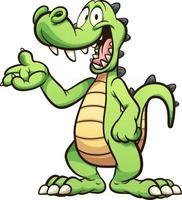desenho animado crocodilo verde vetor