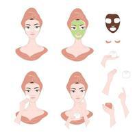 conjunto de imagens de procedimentos de cuidados da pele facial para mulheres vetor