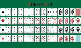 jogo de pôquer de cartas isolado com reverso em um fundo verde vetor
