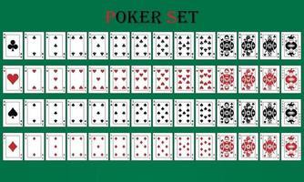conjunto de pôquer com cartas isoladas em fundo verde vetor