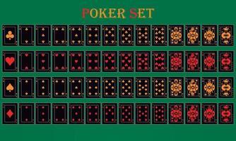 jogo de pôquer com cartas isoladas pretas e amarelas em um fundo verde vetor