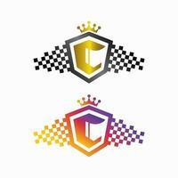logotipo da letra C com escudo e coroa adequados para logotipo esportivo ou automotivo vetor
