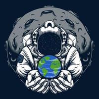 ilustração em vetor astronauta terra segura