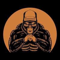 ilustração vetorial retro legal de gorila vetor