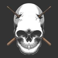 ilustração em vetor crânio empalado bastão