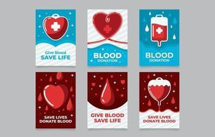 cartões de doador de sangue vermelho e azul vetor