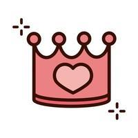 Dia das mães rainha coroa coração linha de amor e ícone de estilo de preenchimento vetor