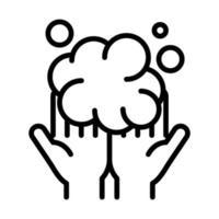higiene pessoal das mãos bolhas das mãos espuma prevenção de doenças e ícone de estilo de linha de cuidados de saúde vetor