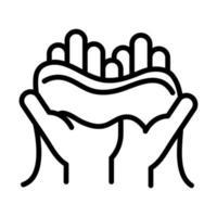 Higiene pessoal das mãos, mãos com toalha ícone de estilo de linha de prevenção de doenças e cuidados de saúde vetor