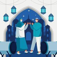 sair com segurança com a família durante o eid vetor
