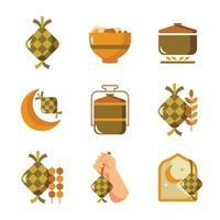 o versátil e gratificante bolo de arroz de ketupat vetor