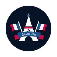 Bastille Day Torre Eiffel com bloco de bandeiras e design de vetor de ícone de estilo simples