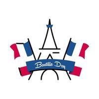 Bastille Day Torre Eiffel com linha de bandeiras e preenchimento de estilo ícone vector design