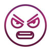 Ícone de estilo gradiente de emoticon sorridente de raiva engraçado expressão facial vetor
