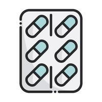 embalagem pílulas remédio equipamento de saúde linha médica vetor