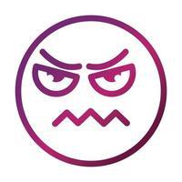 Ícone expressivo do estilo gradiente emoticon sorridente com a testa franzida vetor