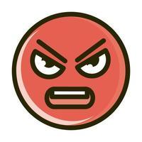 Linha de expressão e ícone de preenchimento de emoticon de smiley engraçado de raiva vetor