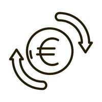 ícone de estilo de linha de negócios de câmbio de euros vetor